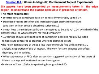 1 Session II-A : Lithium in Magnetic Confinement Topical Experiments