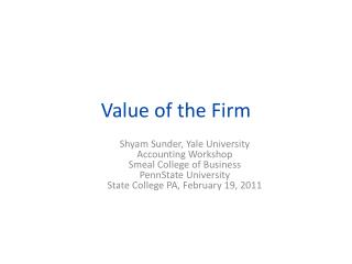 Value of the Firm