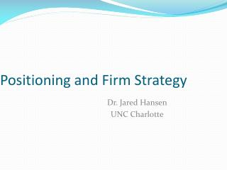 Positioning and Firm Strategy