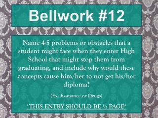 Bellwork #12