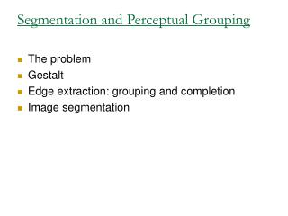 Segmentation and Perceptual Grouping
