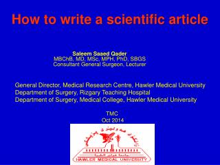 How to write a scientific article