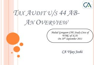 Tax Audit u/s 44 AB- An Overview