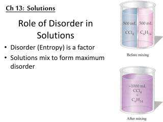 Role of Disorder in Solutions