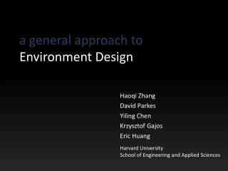 a general approach to  Environment Design