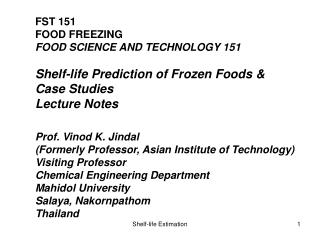 FST 151 FOOD FREEZING FOOD SCIENCE AND TECHNOLOGY 151