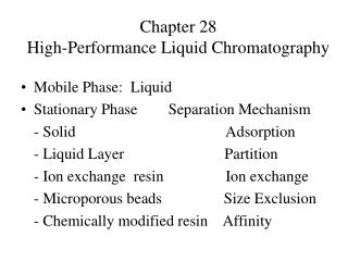 Chapter 28 High-Performance Liquid Chromatography