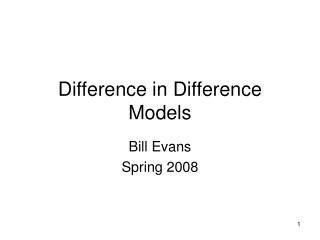 Difference in Difference Models