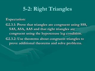 5-2: Right Triangles