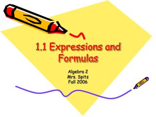 1.1 Expressions and Formulas