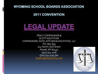 WYOMING SCHOOL BOARDS ASSOCIATION 2011 Convention