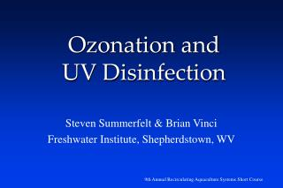 Ozonation and  UV Disinfection