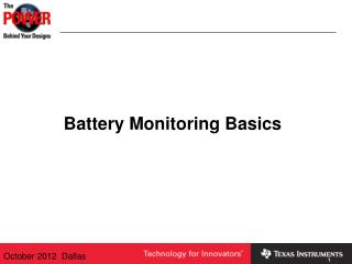 Battery Monitoring Basics