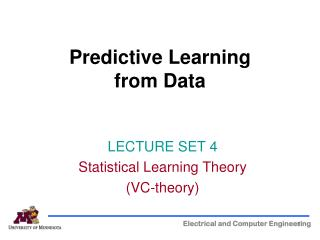 Predictive Learning  from Data