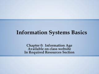 Information Systems Basics