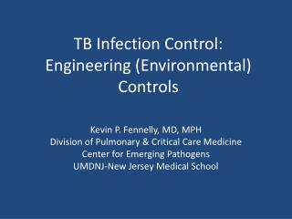 TB Infection Control: Engineering (Environmental) Controls