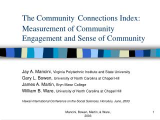 The Community Connections Index:  Measurement of Community Engagement and Sense of Community