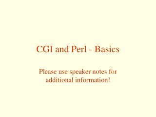 CGI and Perl - Basics