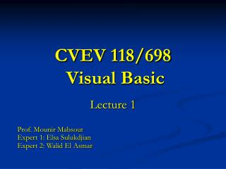 CVEV 118/698  Visual Basic