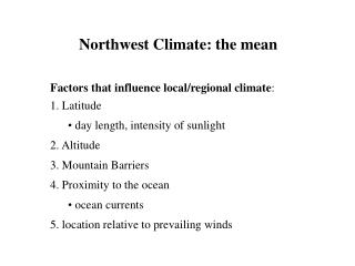 Northwest Climate: the mean