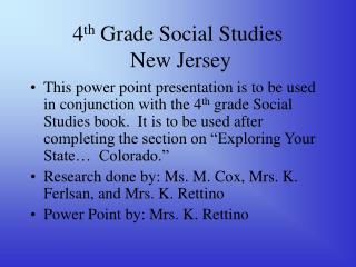 4 th Grade Social Studies New Jersey