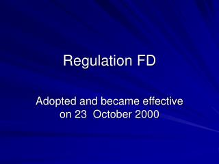 Regulation FD