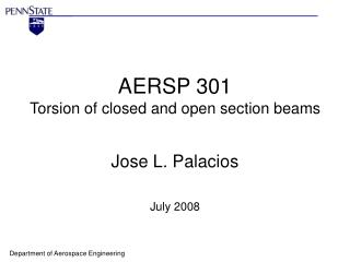 AERSP 301 Torsion of closed and open section beams
