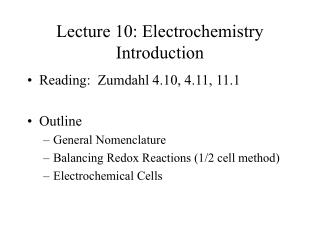 Lecture 10: Electrochemistry Introduction