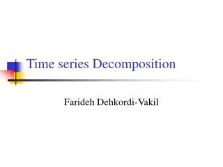 Time series Decomposition