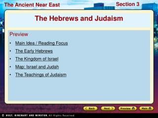 Preview Main Idea / Reading Focus  The Early Hebrews The Kingdom of Israel  Map: Israel and Judah
