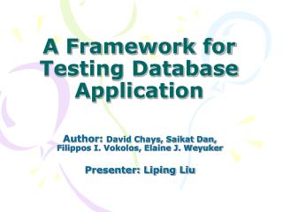 A Framework for Testing Database Application