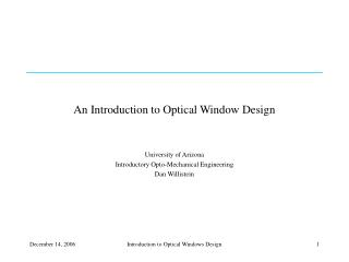 An Introduction to Optical Window Design