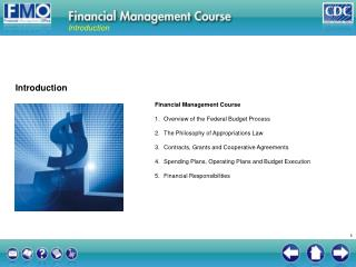 Financial Management Course Overview of the Federal Budget Process