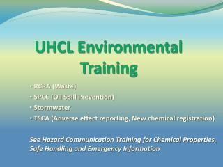 UHCL  Environmental Training