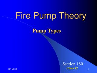 Fire Pump Theory