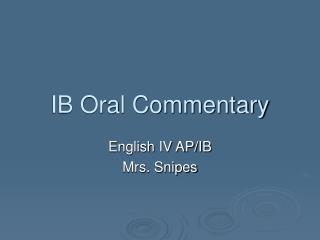 IB Oral Commentary