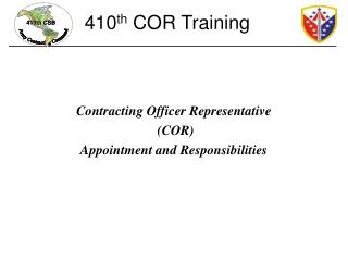 Contracting Officer Representative  (COR)  Appointment and Responsibilities