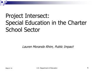 Project Intersect:  Special Education in the Charter School Sector