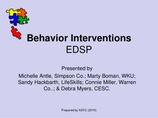 Behavior Interventions EDSP