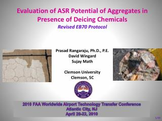 Evaluation of ASR Potential of Aggregates in Presence of Deicing Chemicals Revised EB70 Protocol