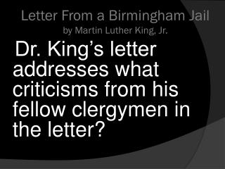 Letter From a Birmingham Jail by Martin Luther King, Jr.