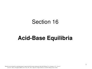 Section 16 Acid-Base Equilibria
