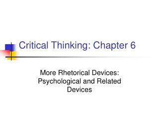 Critical Thinking: Chapter 6