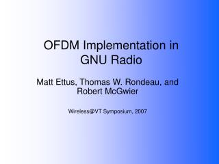 OFDM Implementation in GNU Radio