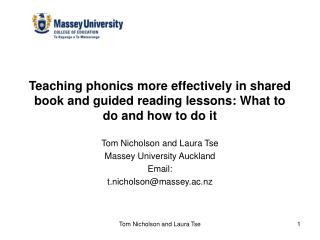 Tom Nicholson and Laura Tse Massey University Auckland Email: t.nicholson@massey.ac.nz