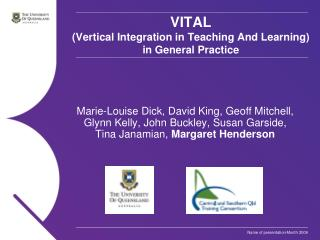 VITAL (Vertical Integration in Teaching And Learning) in General Practice