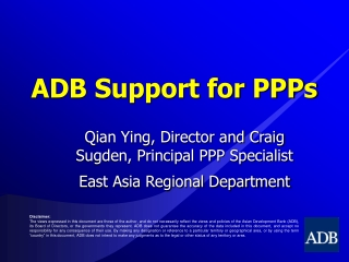 ADB Support for PPPs