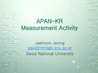APAN-KR Measurement Activity