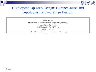 High Speed Op-amp Design: Compensation and Topologies for Two-Stage Designs