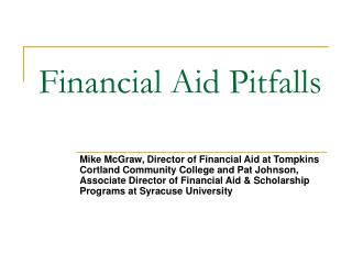 Financial Aid Pitfalls